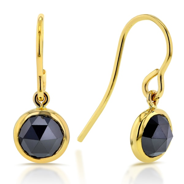 Annello 14k Yellow Gold 1 3/4ct TDW Rose Cut Round Black Diamond Fish Hook Earrings