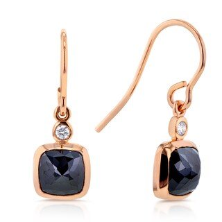 Annello 14k Rose Gold 2 3/4ct TDW Rose Cut Cushion Black Diamond Fish Hook Earrings