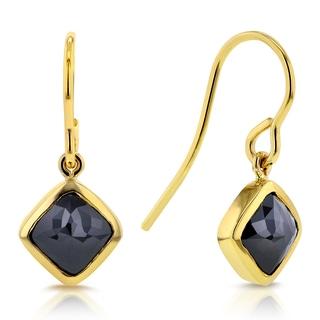 Annello 14k Yellow Gold 2 7/8ct TDW Rose Cut Cushion Black Diamond Fish Hook Earrings