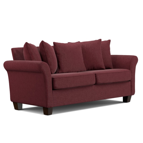 Portfolio Colfax Berry Red Chenille Pillow Back SoFast Sofa