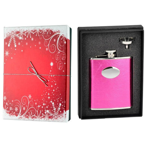 Visol Lydia Hot Pink Leatherette Holiday Essential Liquor Flask Gift Set - 6 ounces 16465639