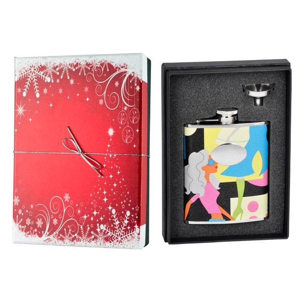 Visol Fashion Leather Holiday Essential Liquor Flask Gift Set - 6 ounces 16465667
