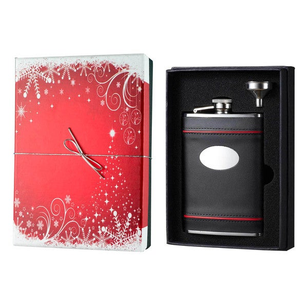 Visol Rouge en Noir Black Leather Holiday Essential II Liquor Flask Gift Set - 8 ounces