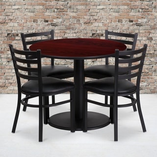 36-inch Round Mahogany Laminate Table Set