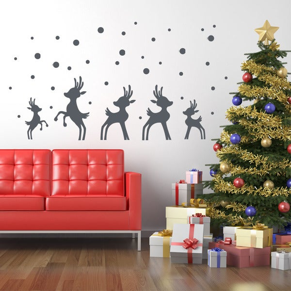 Reindeer in Snow Christmas Wall Decal