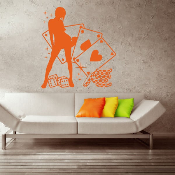 Poker Lady Sport Wall Decal