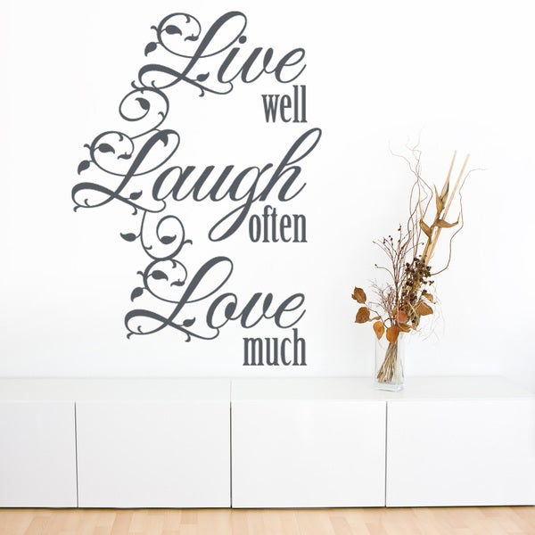 Live well Quote Phrases Wall Decal