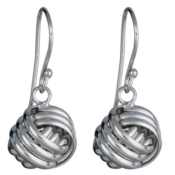 Sterling Silver Love Knot Drop Earrings