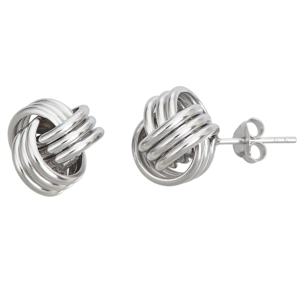 Sterling Silver Love Knot 12mm Stud Earrings