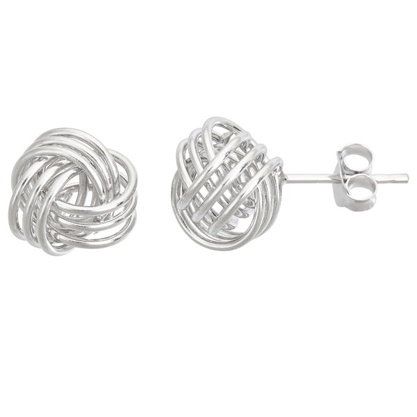 Sterling Silver Love Knot Medium Stud Earrings