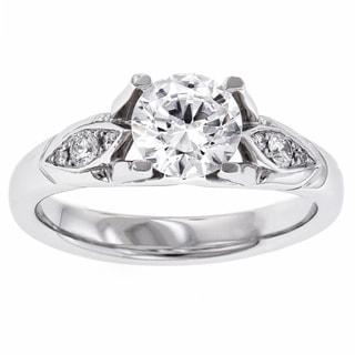Iona MaeVona Platinum Cubic Zirconia and 1/10ct TDW Diamond Ring (G-H, VS1-VS2)