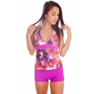 Dippin' Daisy's Pink Cosmo Leopard Halter Tankini with Boyshort