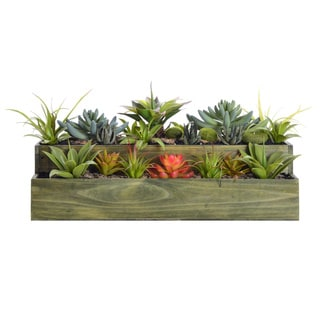 9.5 Inch Tall Succulents With Grass in Wooden Pot