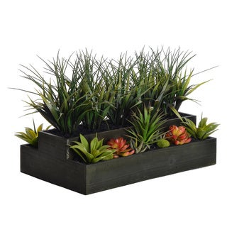 Laura Ashley 14-inch Plastic Grass in Wooden Planter