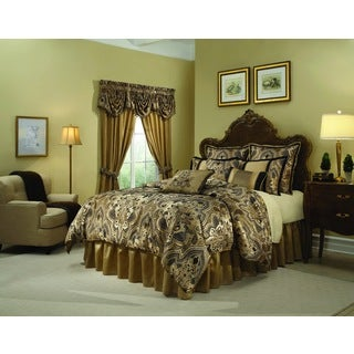 Veratex Villa Rey Luxurious Black and Gold 4-piece Comforter Set