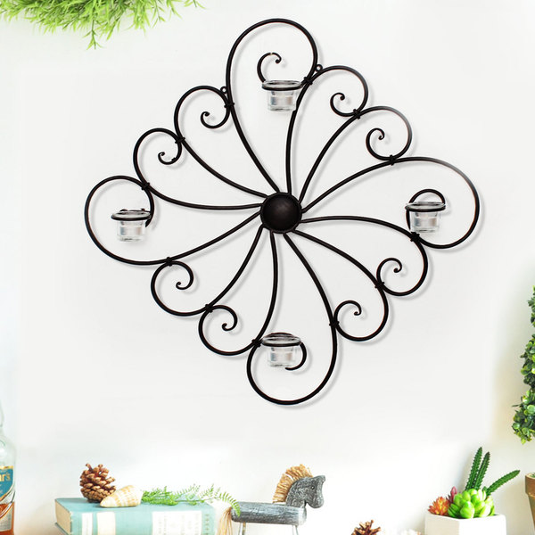 Adeco Decorative Iron Candle Tealight Pillar Wall Sconce 16469230