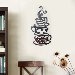 Adeco Iron Three Stacked Coffee Tea Cups Wall Ornament