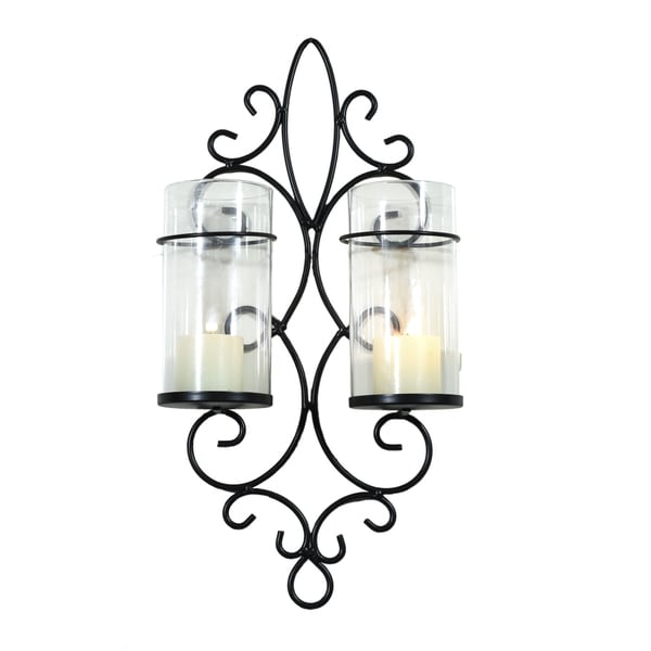 Adeco Metal Wall Sconces with 2 Glass Candle Holders 16469245