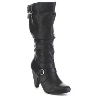 SODA REMOTE Women's Slouchy Multi Buckle Strap Kitten Heel Knee High Boots