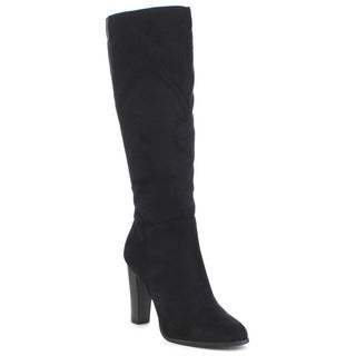 DELICIOUS RIKARD Women's Simple High Chunky Heel Side Zipper Knee High Boots
