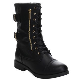 Beston GA46 Women's Cowboy Lace Up Double Straps Chunky Heel Mid Calf Boots