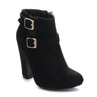 Beston GA47 Women's Stylish Double Ankle Strap Side Zipper Chunky Ankle Booties