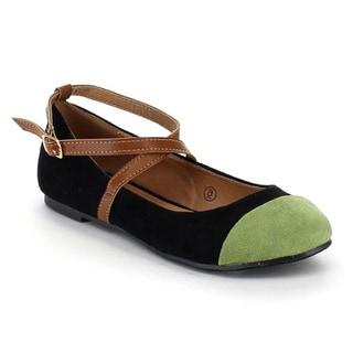 Beston AA61 Women's Two Tone Ankle Strap Low Heel Buckle Ballet Flats