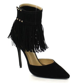 Beston GA53 Women's Chic Ankle Strap With Fringe Pointed Toe Ankle Booties