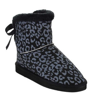 Beston AA50 Women's Leopard Winter Pull On Faux Fur Flat Heel Ankle Snow Booties