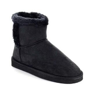 Beston AA52 Women's Winter Faux Fur Pull On Flat Heel Ankle Snow Booties