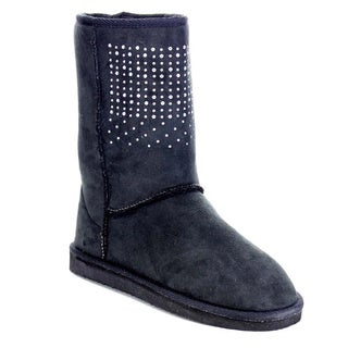 Beston Women's Studded Winter Pull On Mid Calf Boots
