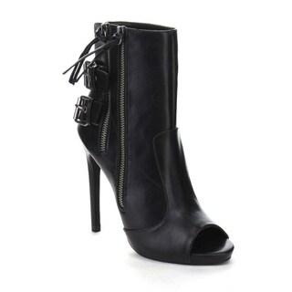 Beston AA64 Women's Ankle strap Stiletto Heel Side Zipper Open Toe Booties