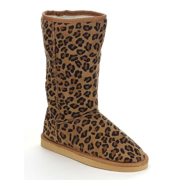 Beston AA54 Women's Leopard Winter Warm Pull On Flat Heel Mid Calf Snow Boots