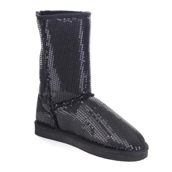 Beston AA55 Women's Glitter Winter Warm Pull On Flat Heel Mid Calf Snow Boots