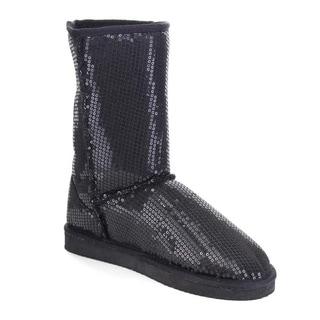 Beston AA55 Women's Glitter Winter Warm Pull On Flat Heel Mid Calf Snow Boots