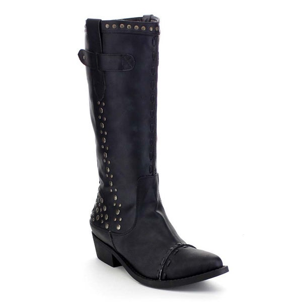 Beston AA68 Women's Western Stacked Studded Pull On Chunky Knee High Boots
