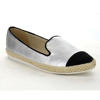 Beston AA65 Women's Two Tone Slip On Casual Espadrille Low Heel Flats
