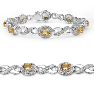Malaika Sterling Silver 3 5/8ct Citrine and Diamond Bracelet