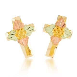 Black Hills 12k Tri-color Gold Cross Earrings