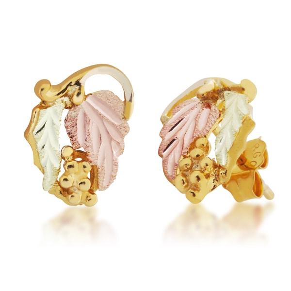 Black Hills 12k Tri-color Gold Earrings