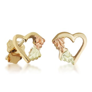 Black Hills 12k Tri-color Gold Heart Earrings