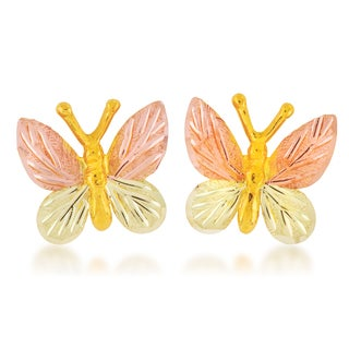 Black Hills 12k Tri-color Gold Butterfly Earrings