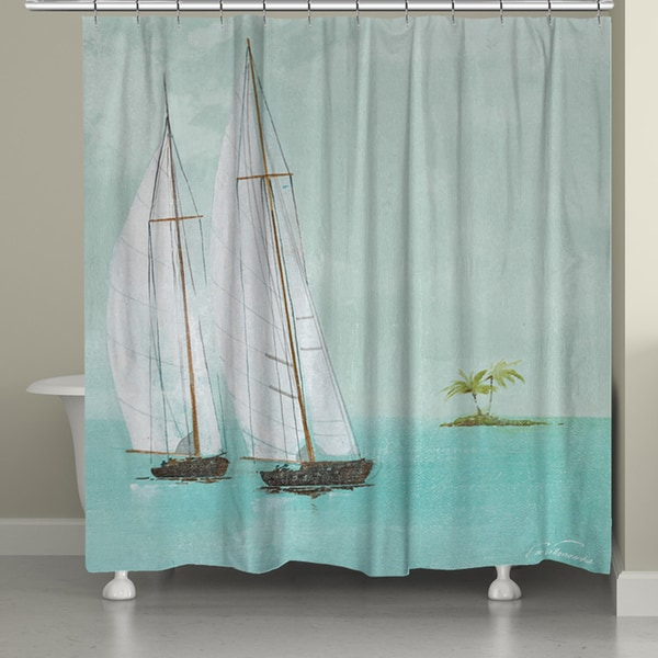 Laural Home Tropical Sailing Shower Curtain (71-inch x 74-inch ...