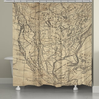 Laural Home US Line Map Shower Curtain (71-inch x 74-inch)