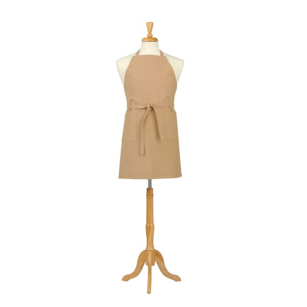 Beige Solid Canvas Butcher Apron