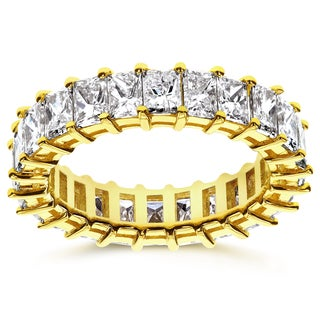 Annello 14k Yellow Gold 3 7/8ct TDW Diamond Princess Baguette Eternity Band - Size 4.5 (I, VS)