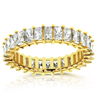 Annello 14k Yellow Gold 4 7/8ct TDW Diamond Princess Baguette Eternity Band - Size 8.5 (I, VS)