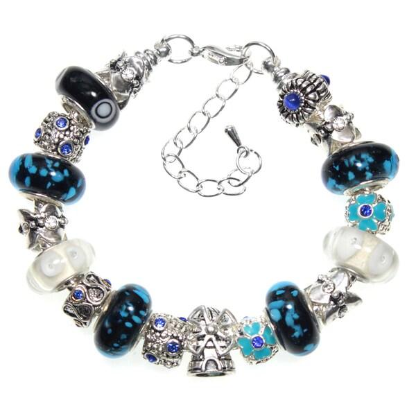 Windmill Charm Blue Murano Glass Bead European Style 18cm Charm Bracelet