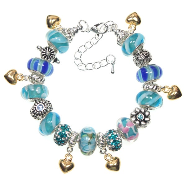 Blue Murano Glass Bead and Golden Hearts European Style 19cm Charm Bracelet