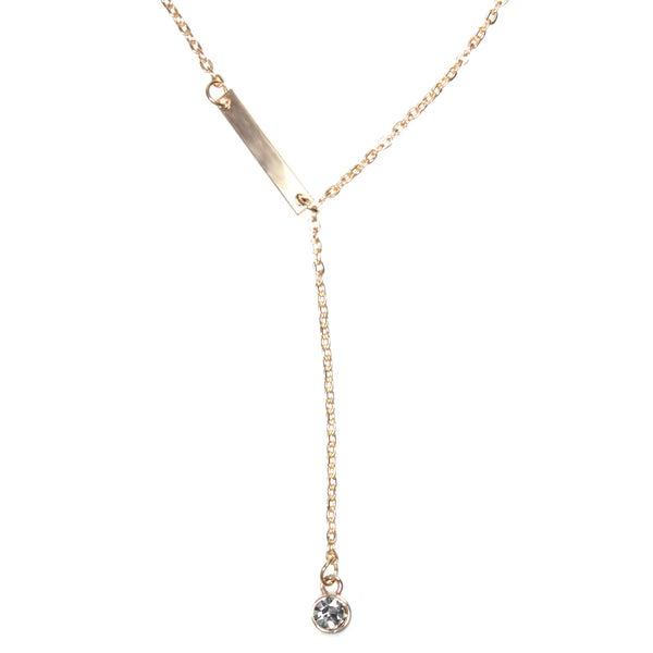 Lariat Y Design Crystal Drop and Bar Goldtone Link Chain Necklace